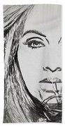 Adele Charcoal Sketch Bath Towel