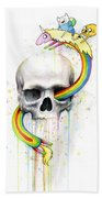 Adventure Time Skull Jake Finn Lady Rainicorn Watercolor Bath Towel by Olga Shvartsur