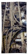 Aerial Of The Maze Near The Bay Bridge, San Francisco Bath Towel