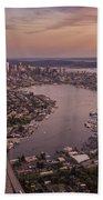 Aerial Seattle View Along Interstate 5 Bath Towel