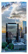 Aerial View Of Charlotte City Skyline At Sunset Bath Towel by Alex Grichenko