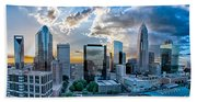 Aerial View Of Charlotte City Skyline At Sunset Bath Towel
