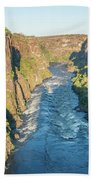 Aerial View Of Sunlit Rapids In Canyon Bath Towel