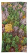 Aerial View Of The Forrest With Different Color Trees.  Bath Towel
