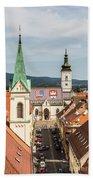 Aerial View Of Zagreb In Croatia Bath Towel