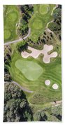 Aerial View Over Golf Field In Poland. Summer Time. Bath Towel