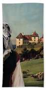 Afghan Hound-falconer And Castle Canvas Fine Art Print Bath Towel