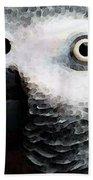 African Gray Parrot Art - Softy Bath Towel