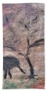 African Landscape Baby Elephant And Banya Tree At Watering Hole With Mountain And Sunset Grasses Shr Hand Towel