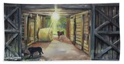 After Hours In Pa's Barn - Barn Lights - Labs Bath Towel