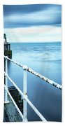 After The Shower Over Whitby Pier Bath Towel