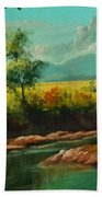 Afternoon By The River With Peaceful Landscape L A S Bath Towel