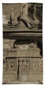 Aged And Worn Swan Statues On Rustic Cast Fountain Hand Towel