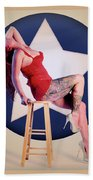 Air Force Pinup With Calypso Jean Bath Towel