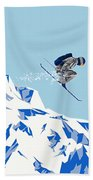 Airborn Skier Flying Down The Ski Slopes Bath Towel