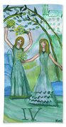 Airy Four Of Wands Illustrated Bath Towel
