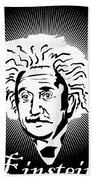 Albert Einstein Caricature On A White Glow Bath Towel