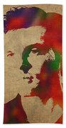 Alden Ehrenreich Watercolor Portrait Bath Towel