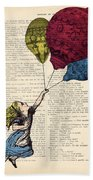 Alice In Wonderland With Big Colorful Balloons Hand Towel