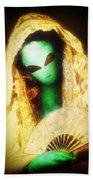 Alien Wearing Lace Mantilla Bath Towel