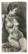 Alison Charcoal On Paper From Observation  Bath Towel