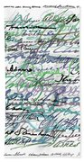 All The Presidents Signatures Teal Blue Bath Towel