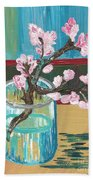 Almond Blossoms In A Glass Bath Towel