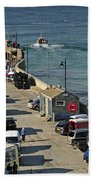 Along The South Pier - Newquay Harbour Bath Towel