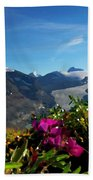 Alpine Meadow Flowers Overlooking Glacier Bath Towel