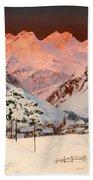 Alpine Mountain Scene Bath Towel