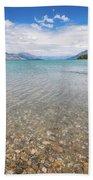 Alpine Scenery From Dart River Bed In Kinloch, New Zealand Bath Towel