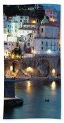 Amalfi Coast At Night Hand Towel