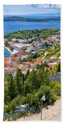 Amazing Historic Town Of Hvar Aerial View Bath Towel