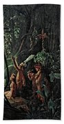 Amazonian Indians Worshiping The Sun God Hand Towel