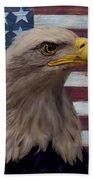 American Bald Eagle And American Flag Bath Towel
