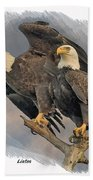 American Bald Eagle Pair Bath Towel by Larry Linton