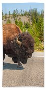 American Bison Sharing The Road In Yellowstone Bath Towel