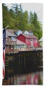 American Flag On Creek Street Ketchikan Alaska Bath Towel