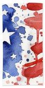 American Flag Watercolor Painting Hand Towel