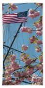 American Flag With Cherry Blossoms Bath Towel