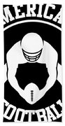 American Football Player With Ball And Helmet Bath Towel