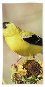 American Goldfinch On Sunflower Bath Towel