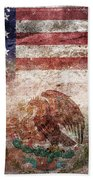 American Mexican Tattered Flag  Bath Towel