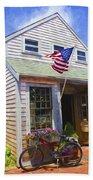 Bike And Usa Flag - Americana Series 04 Bath Towel