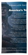 America's Team Poetry Art Hand Towel by Stanley Mathis