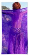 Ameynra Belly Dance. Purple Veil Bath Towel