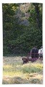 Amish Farmer Raking Hay At Dusk Bath Towel