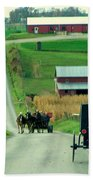 Amish Horse And Buggy Farm Bath Towel