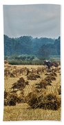 Amish Making Grain Shocks Bath Towel