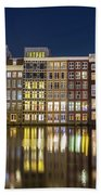 Amsterdam Canal Houses At Night Bath Towel